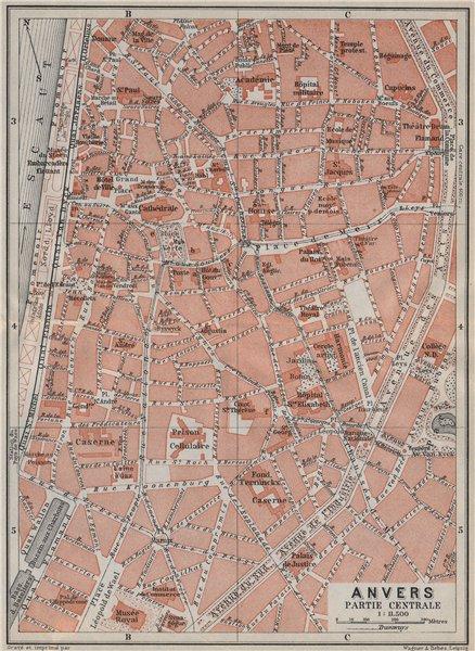 Associate Product ANTWERP ANTWERPEN ANVERS antique town centre. City plan. Belgium carte 1910 map