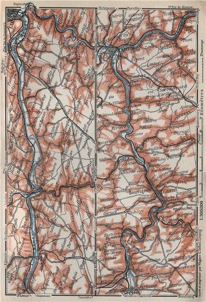 Associate Product MEUSE/MAAS RIVER. Givet-Liège-Namur-Dinant. Belgium carte. BAEDEKER 1910 map