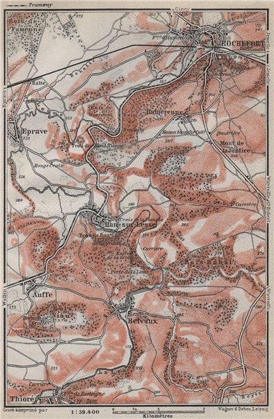 Associate Product ROCHEFORT & HAN-SUR-LESSE environs. Auffe Belvaux Eprave. Belgium 1910 old map