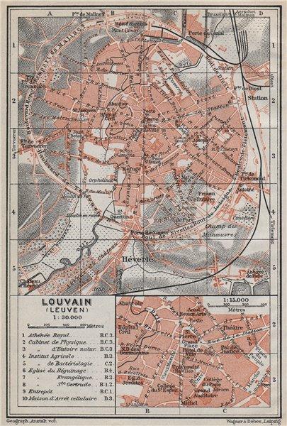 Associate Product LEUVEN LOUVAIN LÖWEN antique town city plan. Belgium carte. BAEDEKER 1910 map