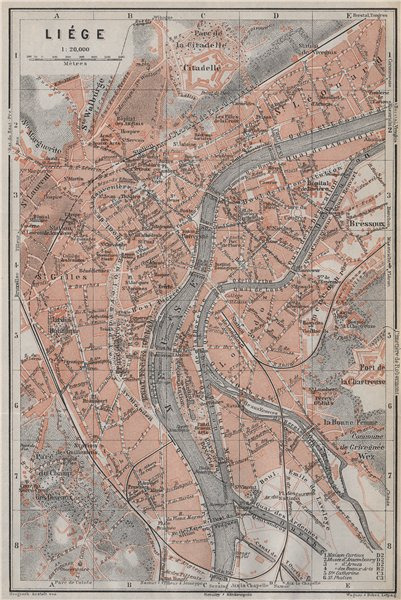 Associate Product LIEGE LIÈGE LUIK antique town city plan. Belgium carte. BAEDEKER 1910 old map