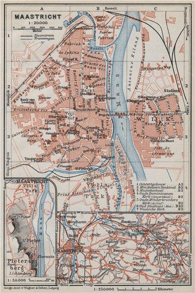 Associate Product MAASTRICHT town city plan & environs. Heugem Maestricht. Netherlands 1910 map
