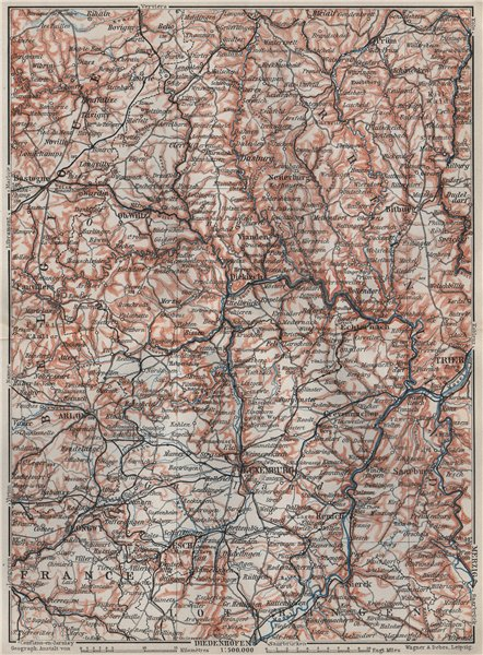 Associate Product THE GRAND-DUCHY OF LUXEMBURG LUXEMBOURG topo-map carte. BAEDEKER 1910 old