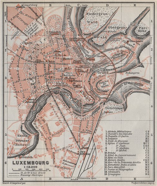 Associate Product LUXEMBURG LUXEMBOURG antique town city plan carte. BAEDEKER 1910 old map