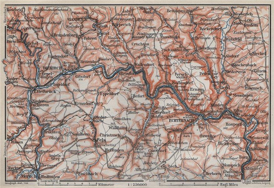 Associate Product SAUER/Sûre RIVER VALLEY. ECHTERNACH Environs. Luxembourg/Germany carte 1910 map