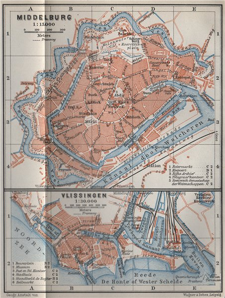 Associate Product MIDDELBURG & VLISSINGEN town city stadsplans. Flushing. Netherlands 1910 map
