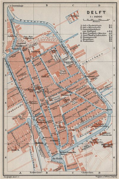 Associate Product DELFT antique town city stadsplan. Netherlands kaart. BAEDEKER 1910 old map