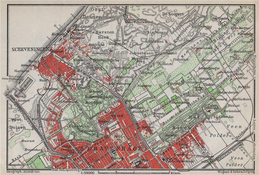 Associate Product SCHEVENINGEN & THE HAGUE DEN HAAG 'S-GRAVENHAGE environs. Netherlands 1910 map
