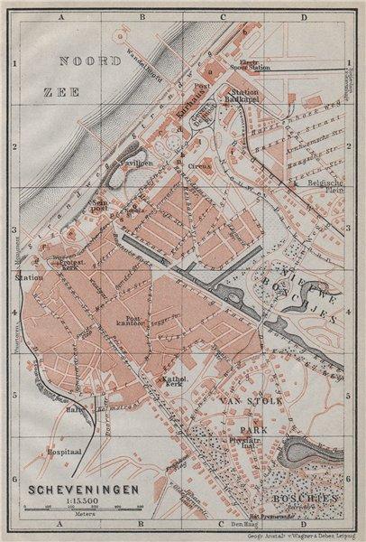 Associate Product SCHEVENINGEN town city stadsplan. Den Haag The Hague. Netherlands 1910 old map
