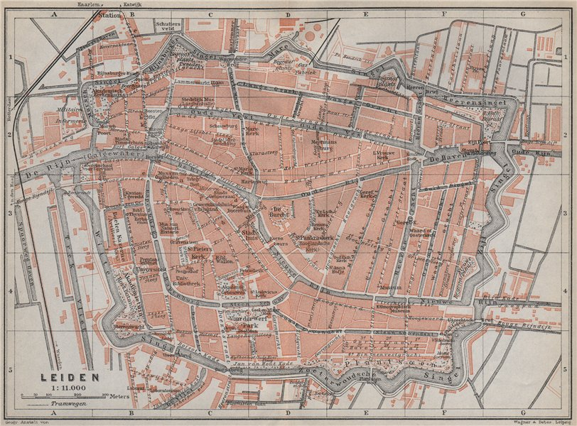 Associate Product LEIDEN LEYDEN antique town city stadsplan. Netherlands kaart. BAEDEKER 1910 map