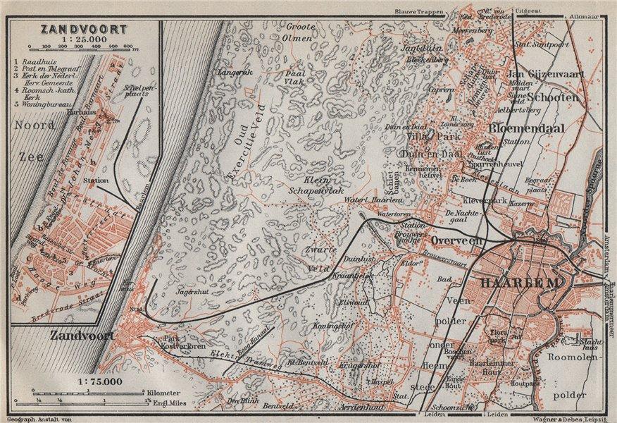 Associate Product HAARLEM & ZANDVOORT environs/town city stadsplan. Netherlands kaart 1910 map