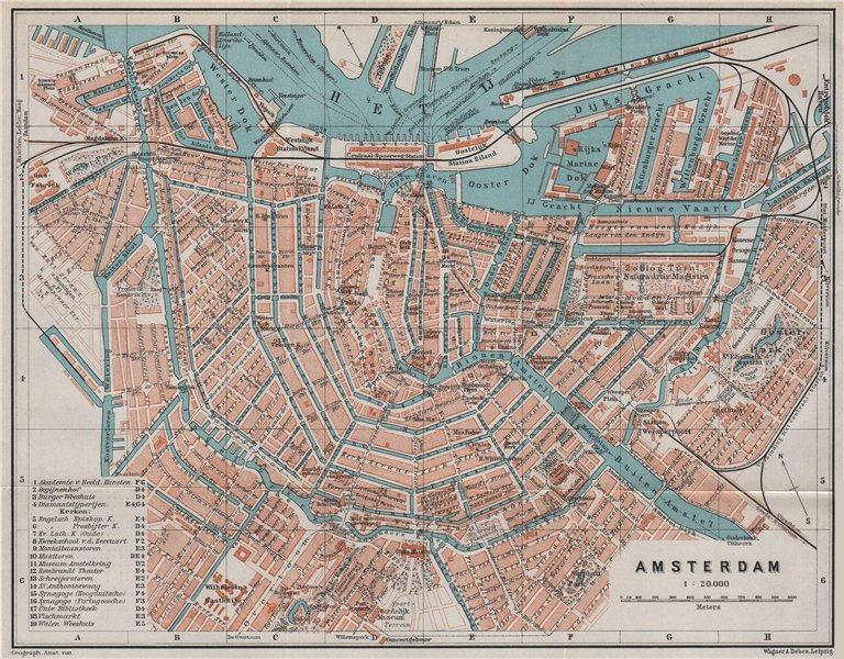 Amsterdam Antique Town City Stadsplan Netherlands Kaart Baedeker