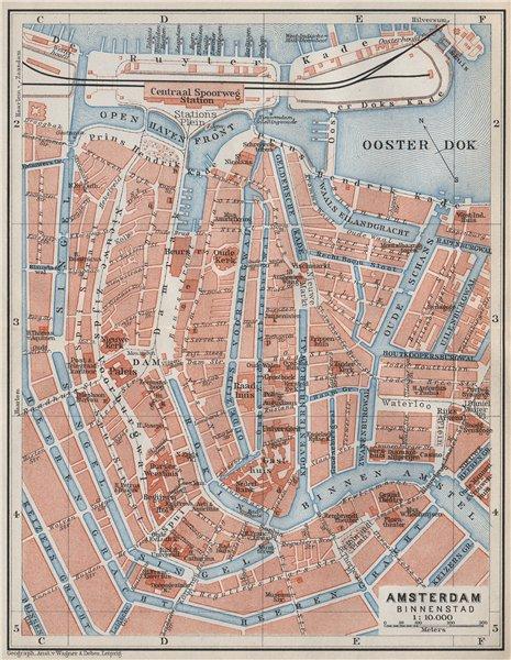 Associate Product AMSTERDAM BINNENSTAD inner town centre/city stadsplan. Netherlands 1910 map