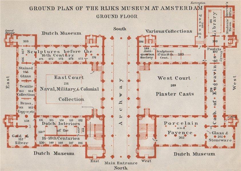 Associate Product RIJKS MUSEUM ground floor plan, Amsterdam. Netherlands kaart. BAEDEKER 1910 map