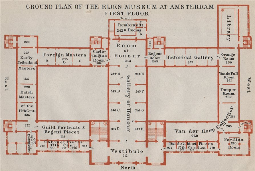 Associate Product RIJKS MUSEUM first floor plan, Amsterdam. Netherlands kaart. BAEDEKER 1910 map