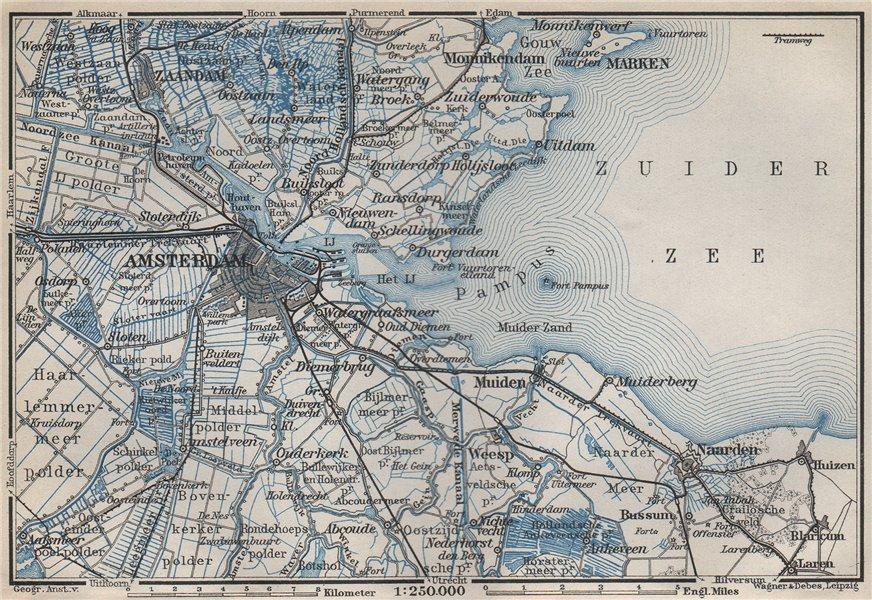 Associate Product AMSTERDAM environs. Utrecht Leiden haarlem Zaandam. Netherlands kaart 1910 map