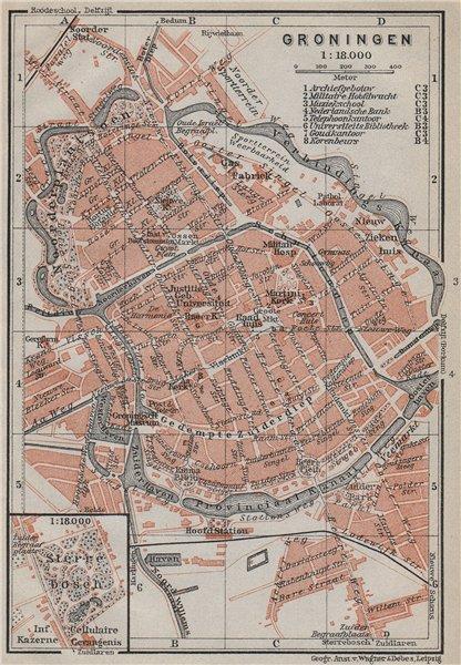Associate Product GRONINGEN antique town city stadsplan. Netherlands kaart. BAEDEKER 1910 map