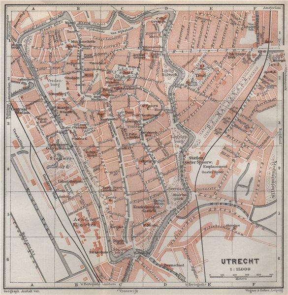 Associate Product UTRECHT antique town city stadsplan. Netherlands kaart. BAEDEKER 1910 old map