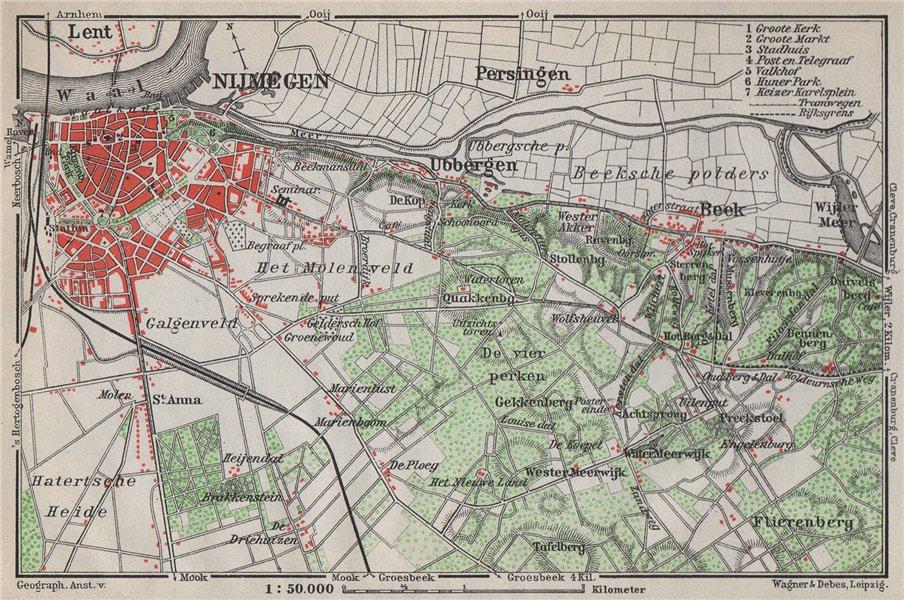 Associate Product NIJMEGEN environs. Beek Ubbergen Lent. Netherlands kaart. BAEDEKER 1910 map