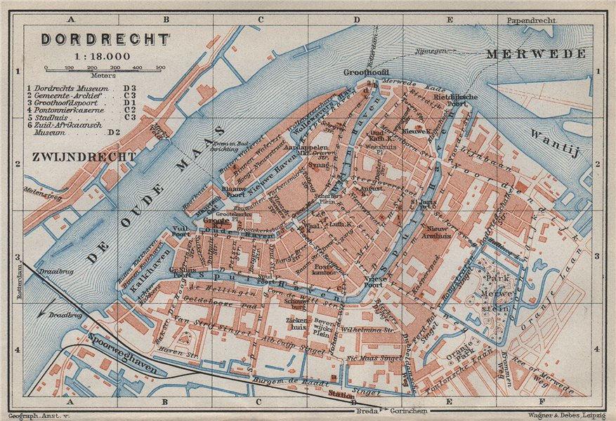 DORDRECHT antique town city stadsplan. Netherlands kaart. BAEDEKER 1910 map