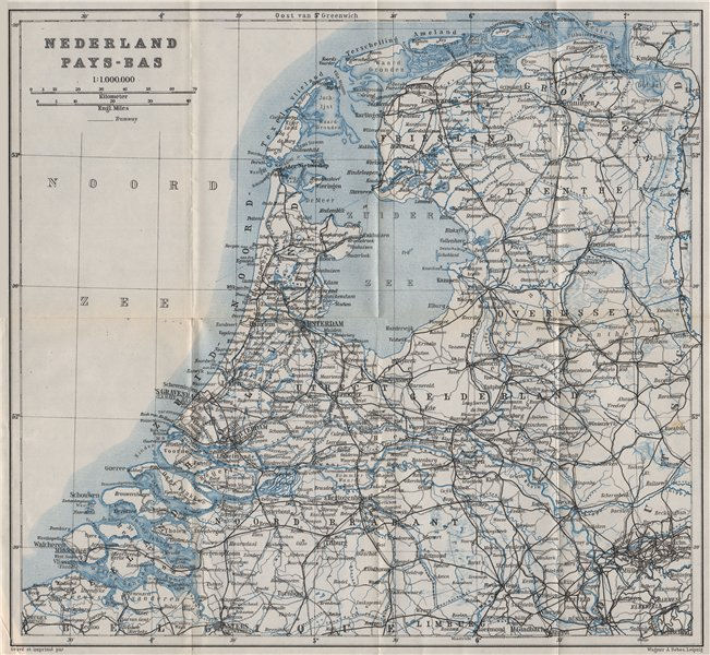 Associate Product HOLLAND NEDERLAND PAYS-BAS General map. Netherlands kaart. BAEDEKER 1910