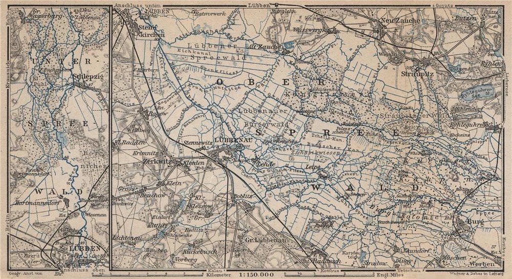 Associate Product SPREEWALD & LÜBBENAU environs/umgebung. Straupitz Zerkwitz Schlepzig 1910 map