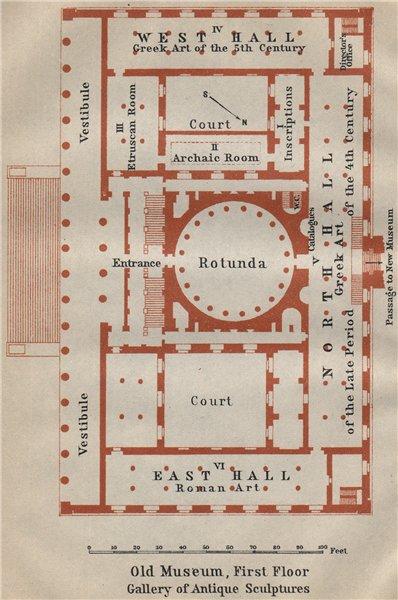 Associate Product ALTES/OLD MUSEUM Berlin. 1st floor plan. Gallery of Antique Sculptures 1923 map
