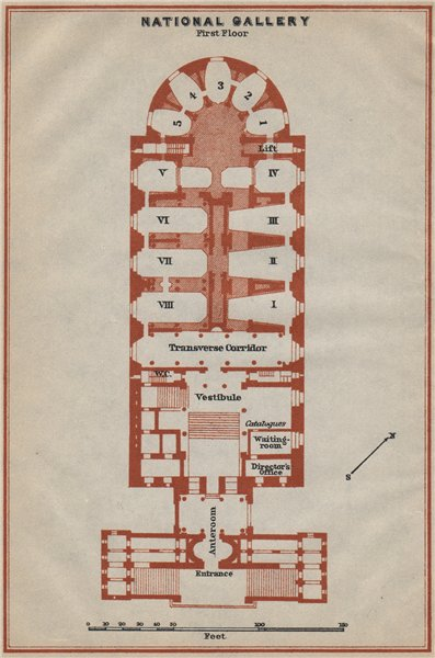 Associate Product ALTE NATIONALGALERIE, Berlin. Old National gallery. First floor plan 1923 map