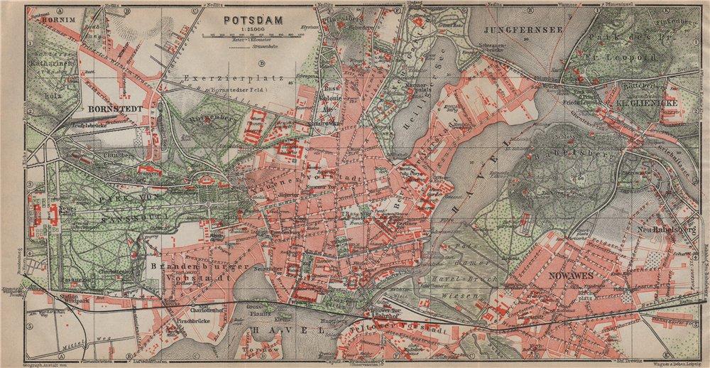 Associate Product POTSDAM town city stadtplan & environs/umgebung. Nowawes. Brandenburg 1923 map