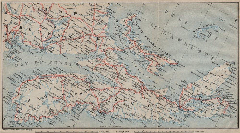Associate Product NOVA SCOTIA showing railroads/companies. PEI NB. Canada. BAEDEKER 1922 old map
