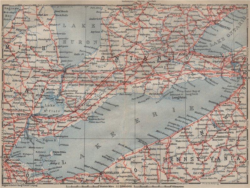 Associate Product Southern ONTARIO. Lake Erie Detroit Toronto Hamilton Cleveland Buffalo 1922 map