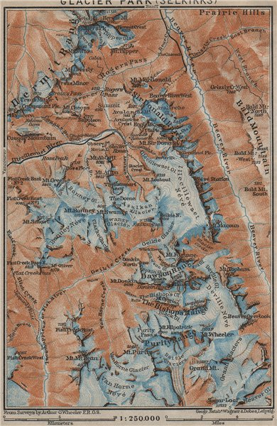 GLACIER NATIONAL PARK.  SELKIRK MOUNTAINS. British Columbia. Canada 1922 map