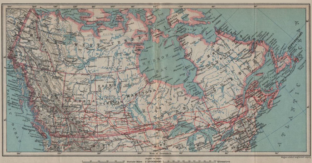 Associate Product BRITISH NORTH AMERICA General map. Canada. BAEDEKER 1922 old vintage chart