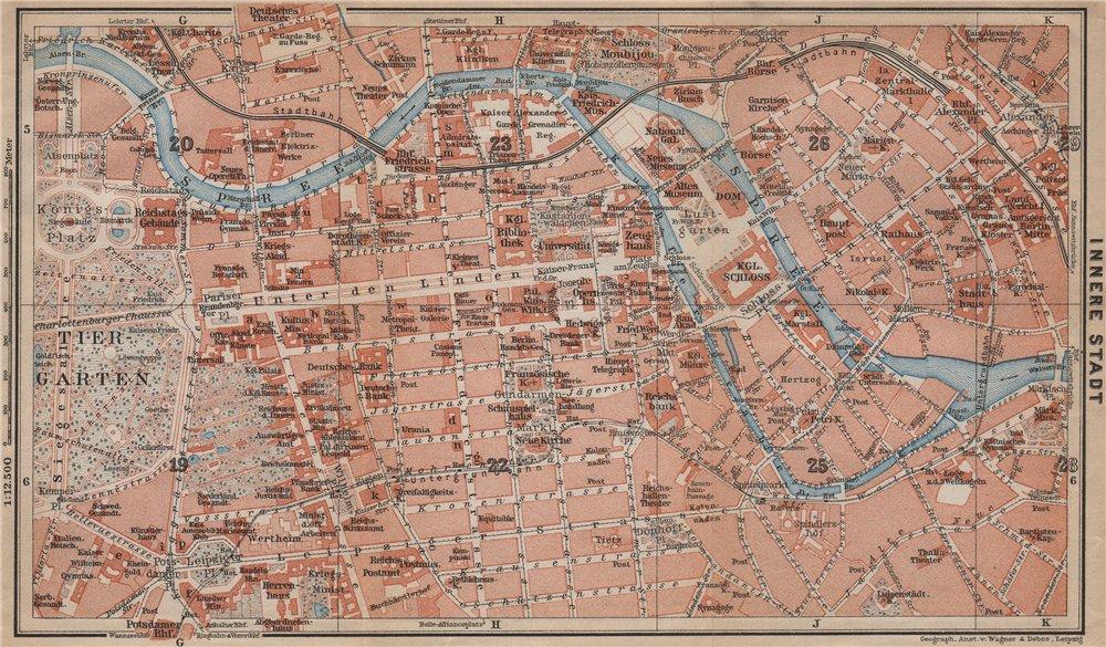 Associate Product BERLIN CENTRE INNERE STADT plan. Public buildings. Öffentliche Gebäude 1913 map