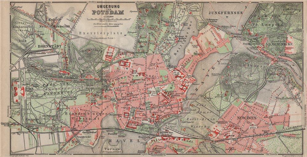 Associate Product POTSDAM town city stadtplan & environs/umgebung. Nowawes. Brandenburg 1913 map