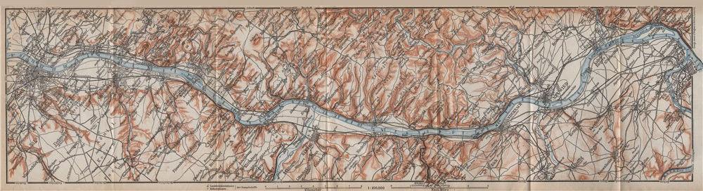 Associate Product RHINE/RHEIN. Bonn-Bad Godesberg-Remagen-Andernach-Neuwied-Koblenz 1913 old map