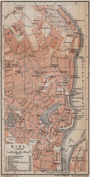 Associate Product KIEL antique town city stadtplan. Schleswig-Holstein karte. BAEDEKER 1913 map