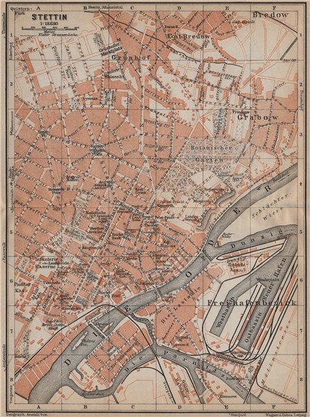 Associate Product STETTIN SZCZECIN antique town city plan miasta. Poland mapa. BAEDEKER 1913