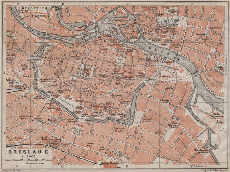 Associate Product BRESLAU WROCŁAW antique town city plan miasta II. Wroclaw. Poland mapa 1913
