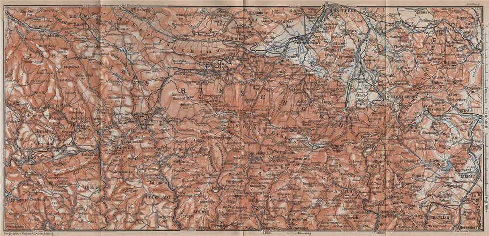 Associate Product KARKONOSZE MOUNTAINS. Jelenia Gora Cieplice Lubawka Jablonec Poland 1913 map