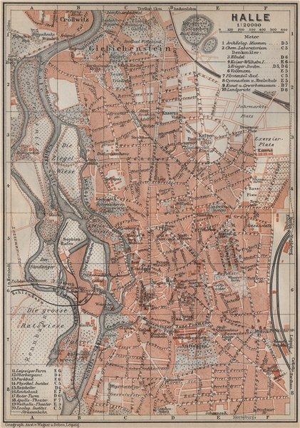 HALLE antique town city stadtplan. Saxony-Anhalt karte. BAEDEKER 1913 old map