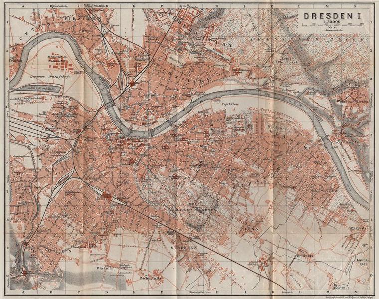 Associate Product DRESDEN antique town city stadtplan I. Saxony karte. BAEDEKER 1913 old map