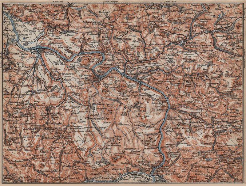 Associate Product SAXON/BOHEMIAN SWITZERLAND Böhmische/Sächsische Schweiz Ceske Svycarsko 1913 map
