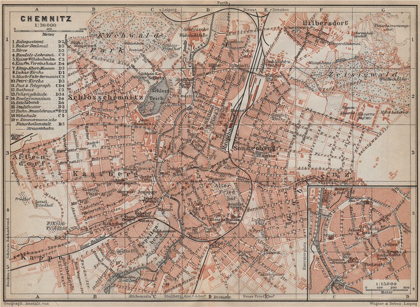 Associate Product CHEMNITZ antique town city stadtplan. Saxony karte. BAEDEKER 1913 old map