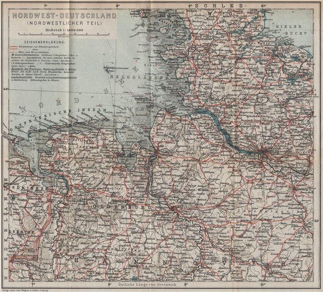 NORDWEST-DEUTSCHLAND. NW Germany. Niedersachsen Schleswig-Holstein 1913 map