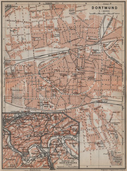 Associate Product DORTMUND town city stadtplan & Hohensyburg. Northrhine-Westfalia karte 1913 map