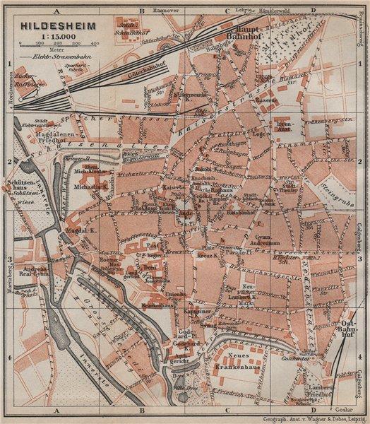Associate Product HILDESHEIM antique town city stadtplan. Lower Saxony karte. BAEDEKER 1913 map