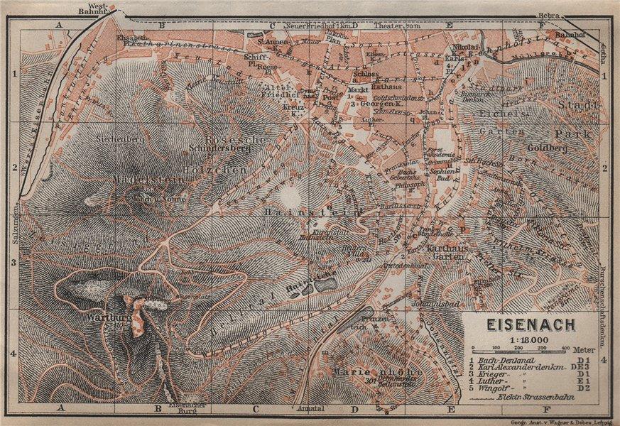 Associate Product EISENACH antique town city stadtplan. Thuringia. Wartburg karte 1913 old map