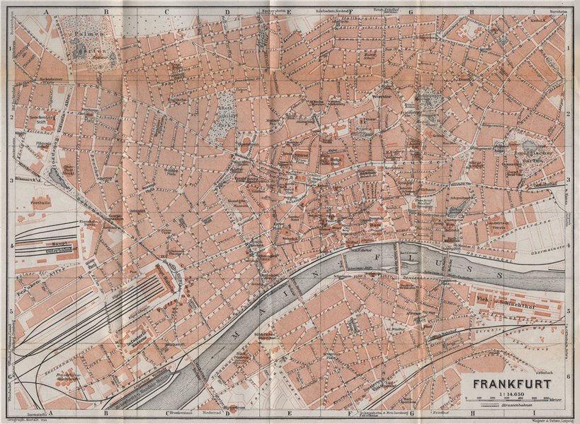 Associate Product FRANKFURT AM MAIN antique town city stadtplan. Hessen karte. BAEDEKER 1913 map