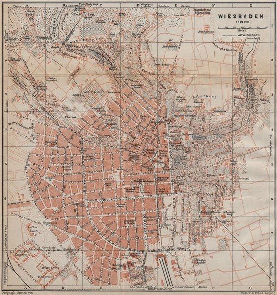 Associate Product WIESBADEN antique town city stadtplan. Hessen karte. BAEDEKER 1913 old map